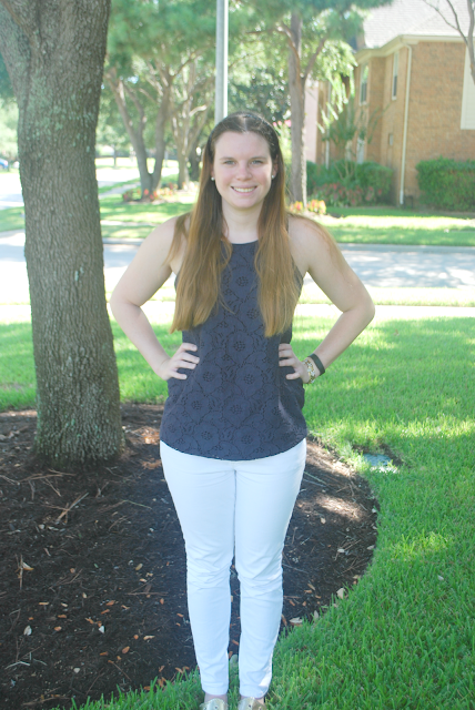 navy top, white jeans