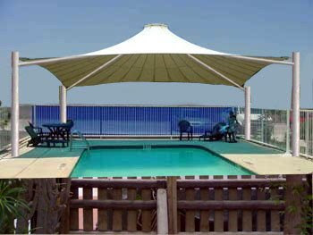 Swimming Pool Shade Umbrella in PVC HDPE Fabric Suppliers Installation in UAE.