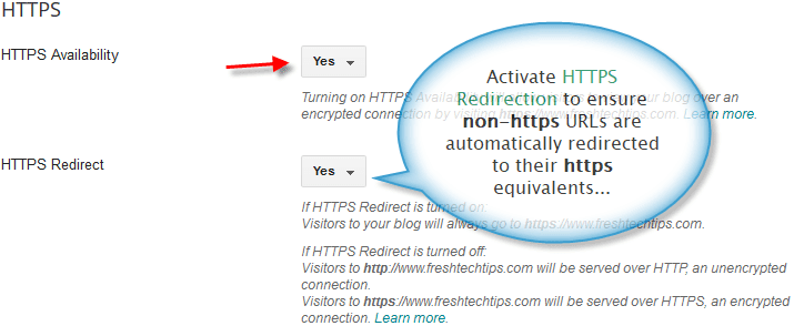 HTTPS redirection for a Blogger blog