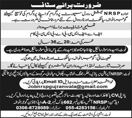 NRSP Bank National Rural Support Programme Job 2019 Online Apply