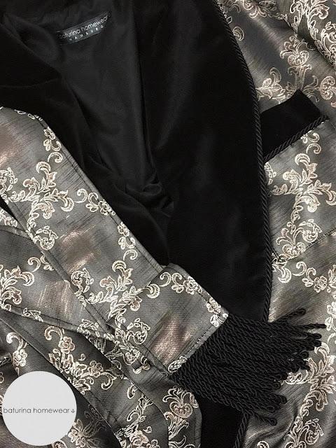 Men's dressing gown paisley cotton and black velvet