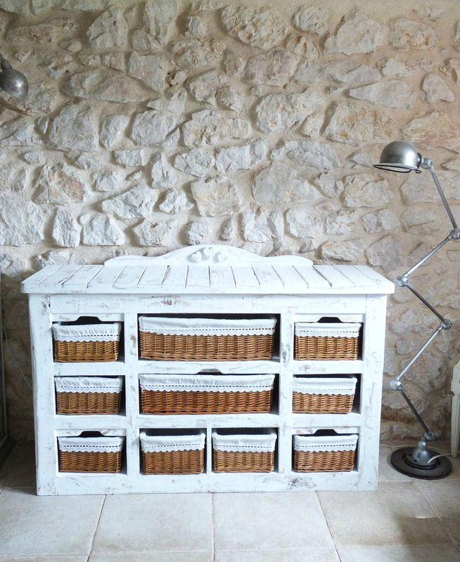 Lit table commode en bois de palette recycler des pallettes en bois cours peinture - Meubles peints patines ...