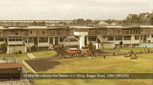 Firefighters put out a fire inside No.1 Division, Boggo Road Gaol, Brisbane, 1986.