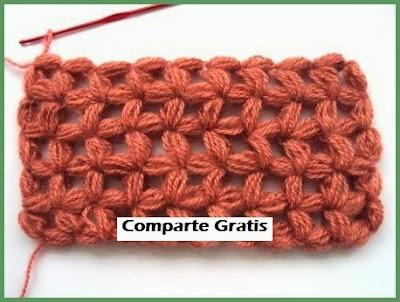 Punto palomita crochet paso a paso
