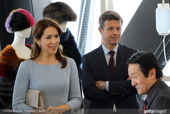 Danish Crown Prince Frederik and Crown Princess Mary visit a fashion school to observe a workshop for seal skin fashion products in Tokyo