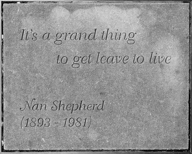 Nan Shepherd's stone slab outside the Writers' Museum in Edinburgh