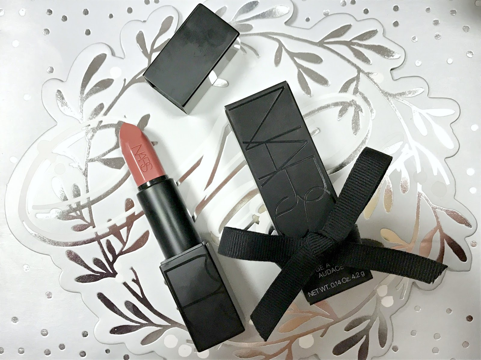 NARS Audacious Lipstick in Anita Blog Swatch before and after Review