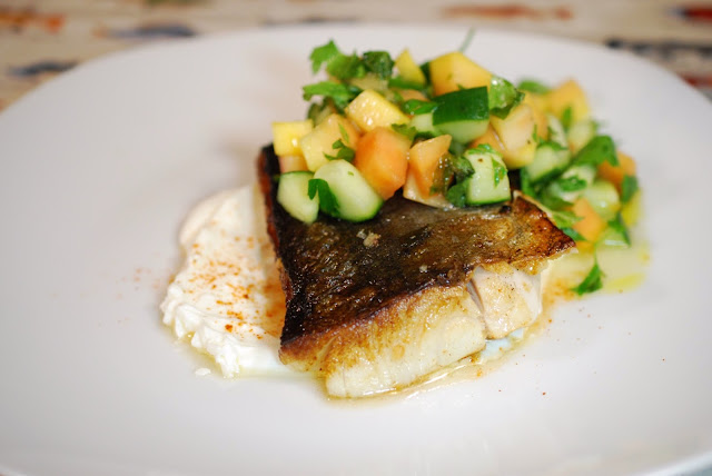 Black Cod and Papaya-Cucumber Salad. Photo by Greg Hudson.