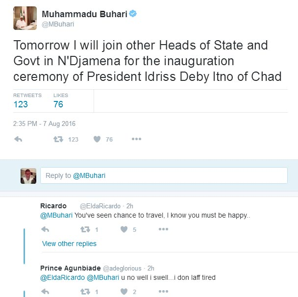 Buhari jets out to Chad for president Deby's inauguration
