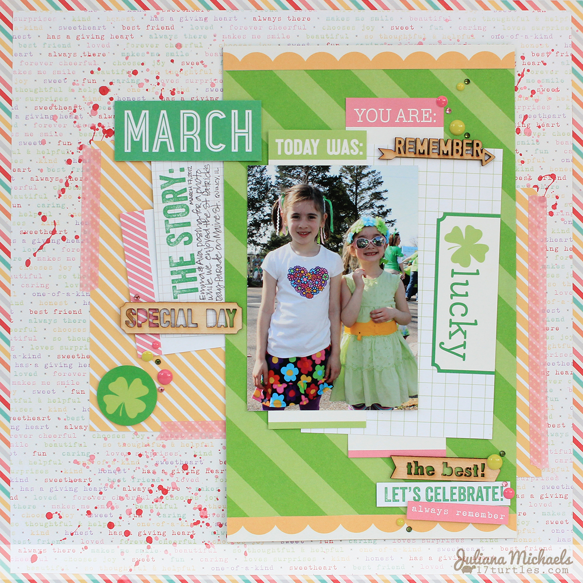 March Scrapbook Page by Juliana Michaels for Elle's Studio