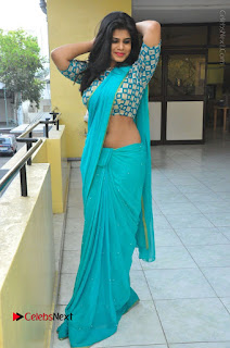 Telugu Actress Alekhya Stills in Green Saree at Swachh Hyderabad Cricket Press Meet  0089.JPG