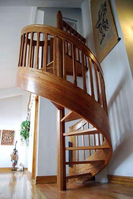 Kiểu cầu thang bằng gỗ khiến bạn ngạc nhiên.