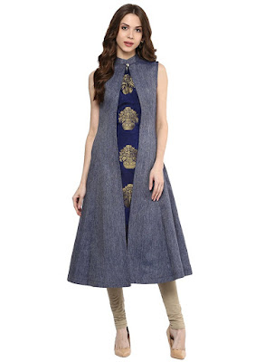 Women's Blue A-line Long Kurti