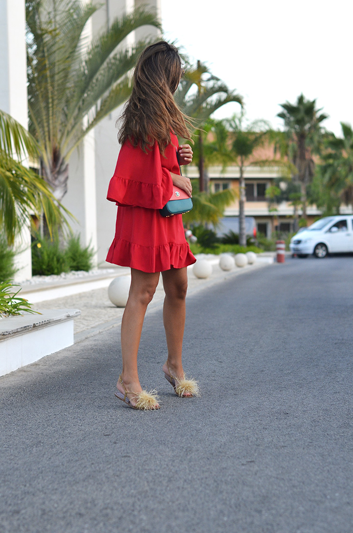Streetstyle - primark red dress, zara feathers sandals, tous mini bag, dior sunglasses