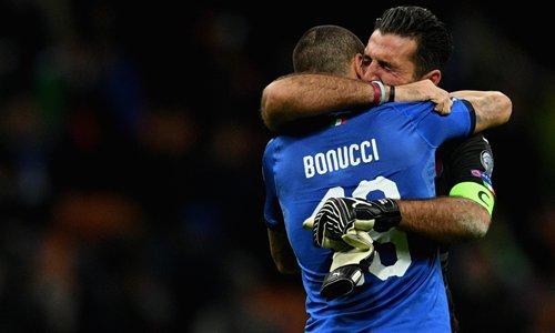 Bonucci và thủ thành Buffon
