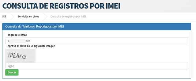 Verificar reporte de mi IMEI