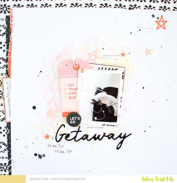 Getaway by ScatteredConfetti. // #scrapbooking #cratepaper #shimmerz #citrustwistkits