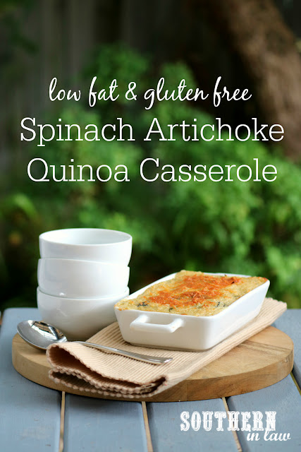 Healthy Spinach Artichoke Quinoa Casserole Recipe - healthy, low fat, gluten free, clean eating recipe, vegetarian, meat free, meatless, quinoa bake recipes, cheese, greek yogurt
