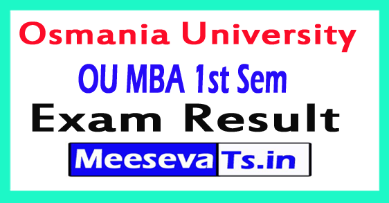 Osmania University MBA 1st Sem Results 2017