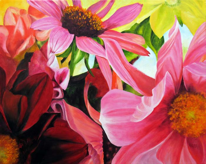 oil painting pink flower - photo #1