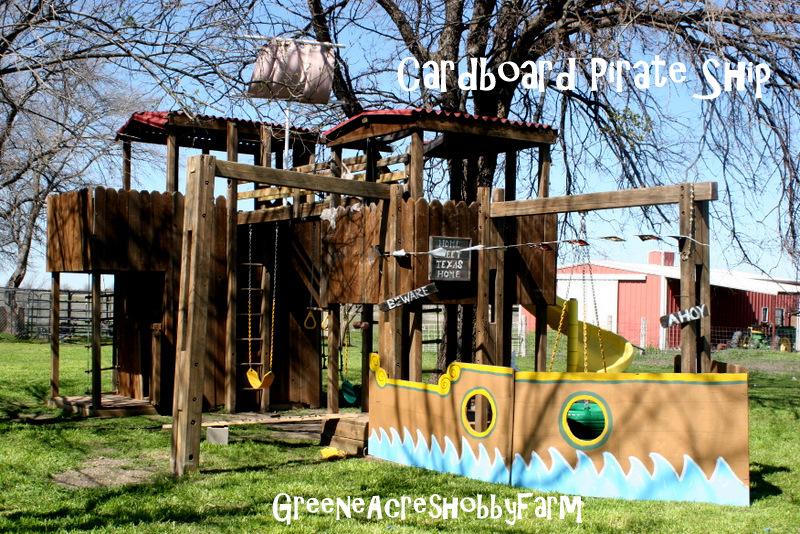 Greene acres hobby farm swashbucklin fun pirate birthday for Cardboard pirate ship template
