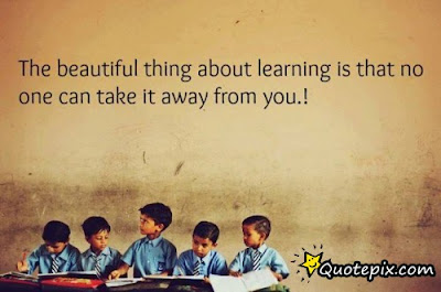 Beautiful Learning to love Quotes:the beautiful thing learning is that no one can take