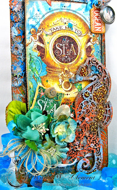 Steampunk Seahorse Tutorial by Kathy Clement, Product by Gypsy Soul Laser Cuts and Graphic 45 Voyage Beneath the Sea Photo 2