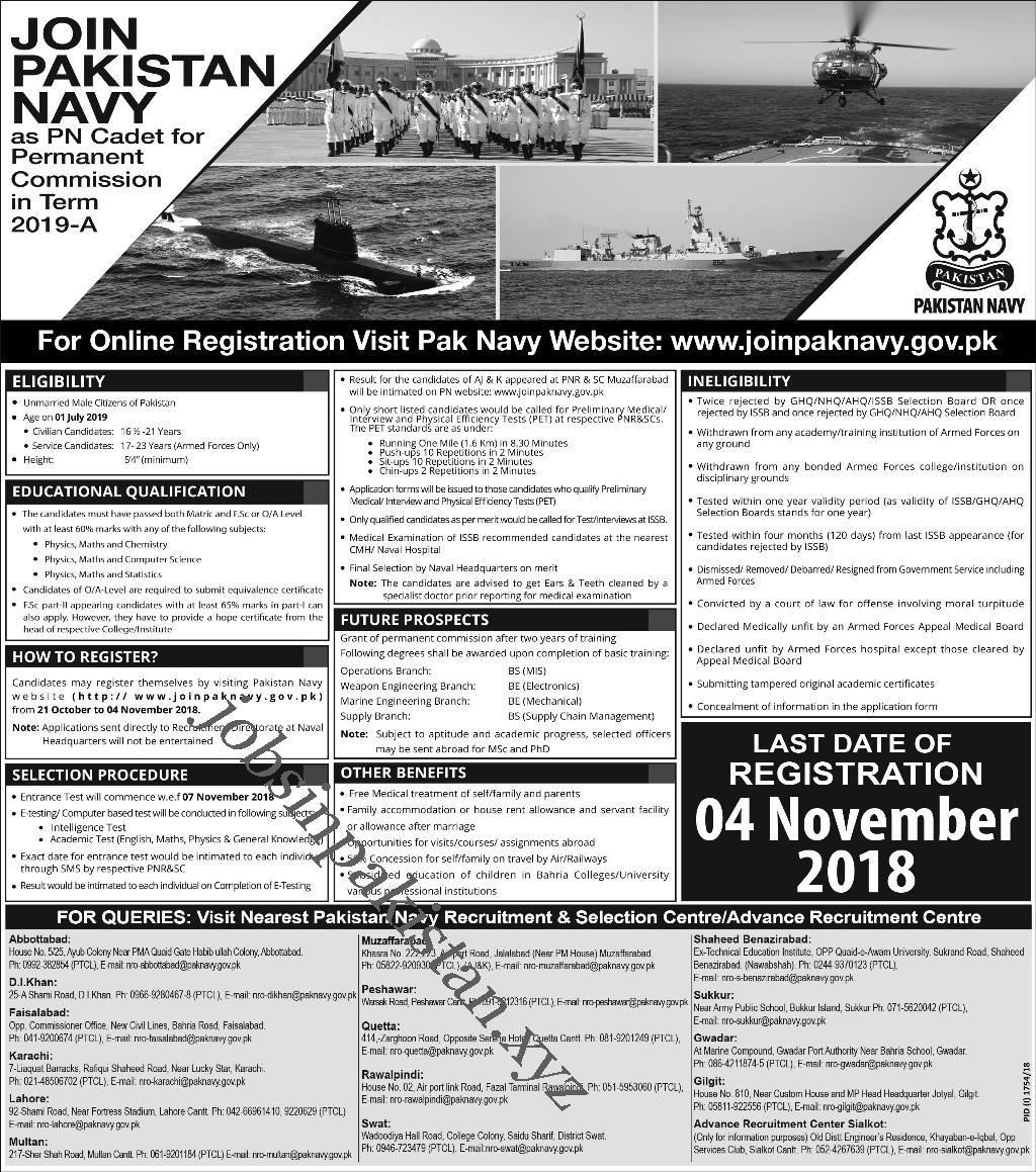 Advertisement for Join Pak Navy As PN Cadet - Commission 2019-A