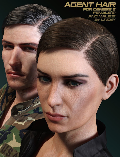 Agent Hair for Genesis 3 Female and Male