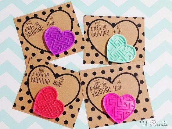 Maze Valentines, non-candy valentines, kids valentines, DIY valentines