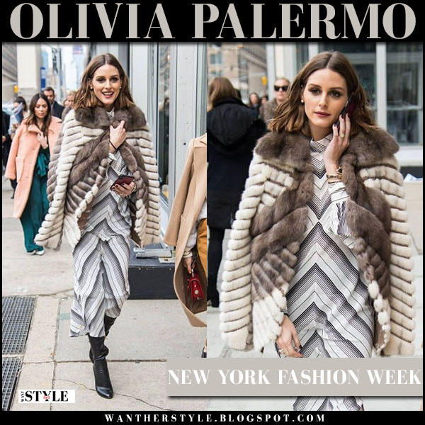 Olivia Palermo in cream and brown striped fur coat dennis basso and grey chevron print dress zimmermann whitewave nyfw street fashion february 12