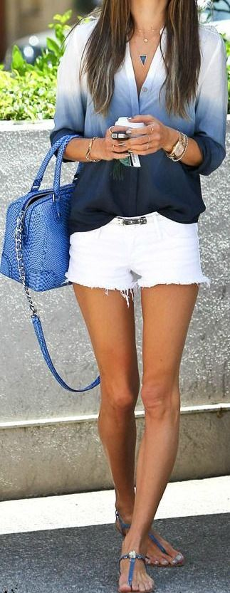 fashion trends outfit: ombre shirt + bag + shorts