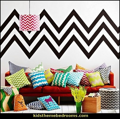 Chevron bedroom decorating ideas - zig zag wallpaper mural - zig zag decor