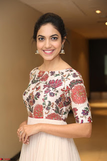 Ritu Varma smiling face Cream Anarkali dress at launch of OPPO New Selfie Camera F3 ~  Exclusive 066.JPG