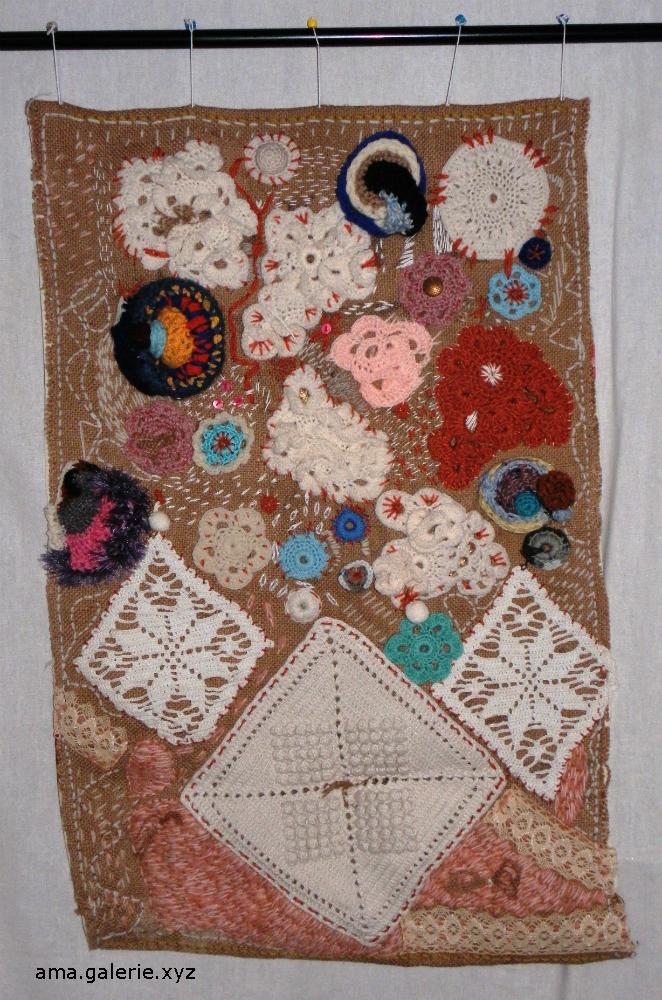 Tableau art textile  Fiber art - recyclage de toile de jute par Ama