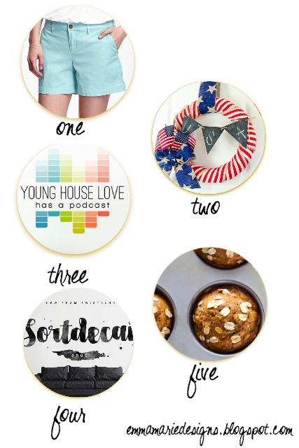 Currently loving in June @ Emmamariedesigns.blogspot.com. Talking about Old Navy shorts, younghouselove's new podcast, a festive 4th of july wreath, healthy zucchini muffins, and a free font. Come chat with me!