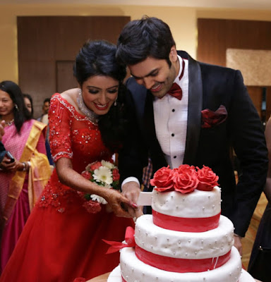 Nisha Krishnan Ganesh Venkatraman cutting cake wedding reception