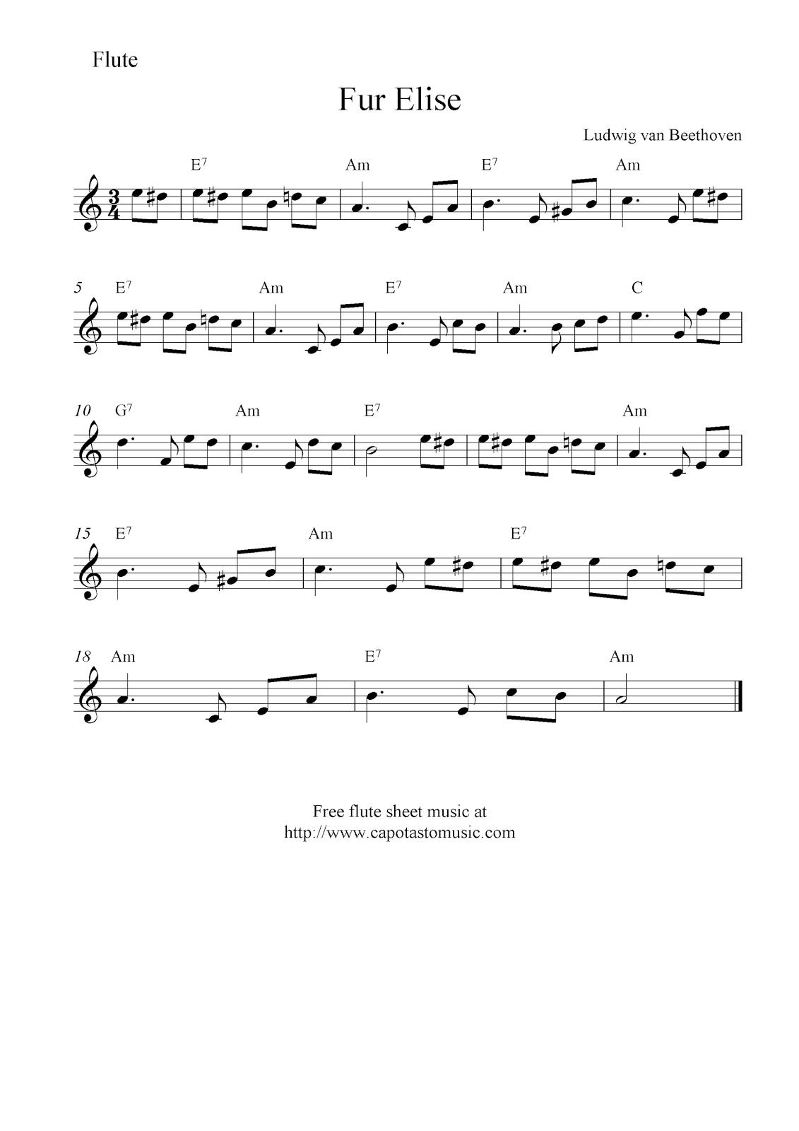 Sheet Music For Beginners Flute Free