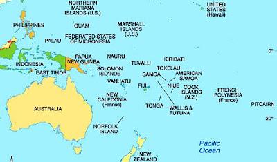 Oceania merupakan salah satu nama wilayah geografis di sekitar Samudra Pasifik Daftar Nama Negara di Benua Oceania/Australia