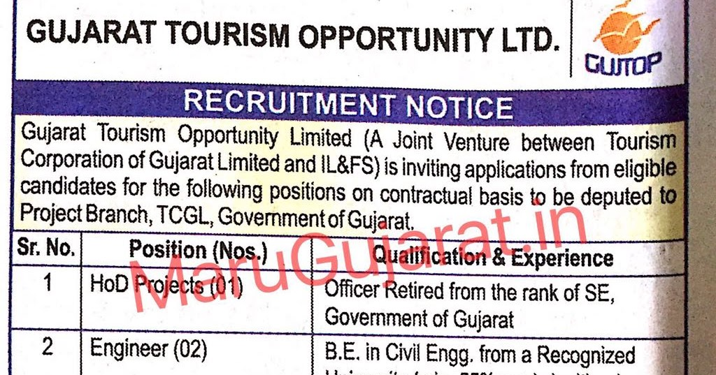 Gujarat Tourism Opportunity Limited Recruitment Various