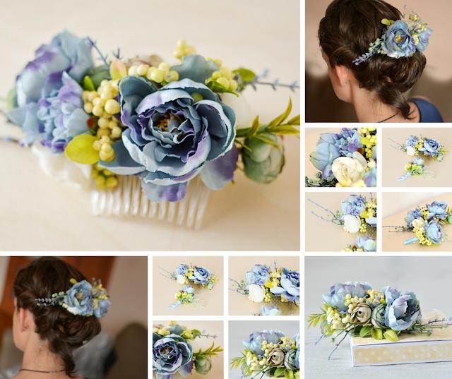 Wedding set- hair accsessories, flower comb , flower wreath, bride , groom
