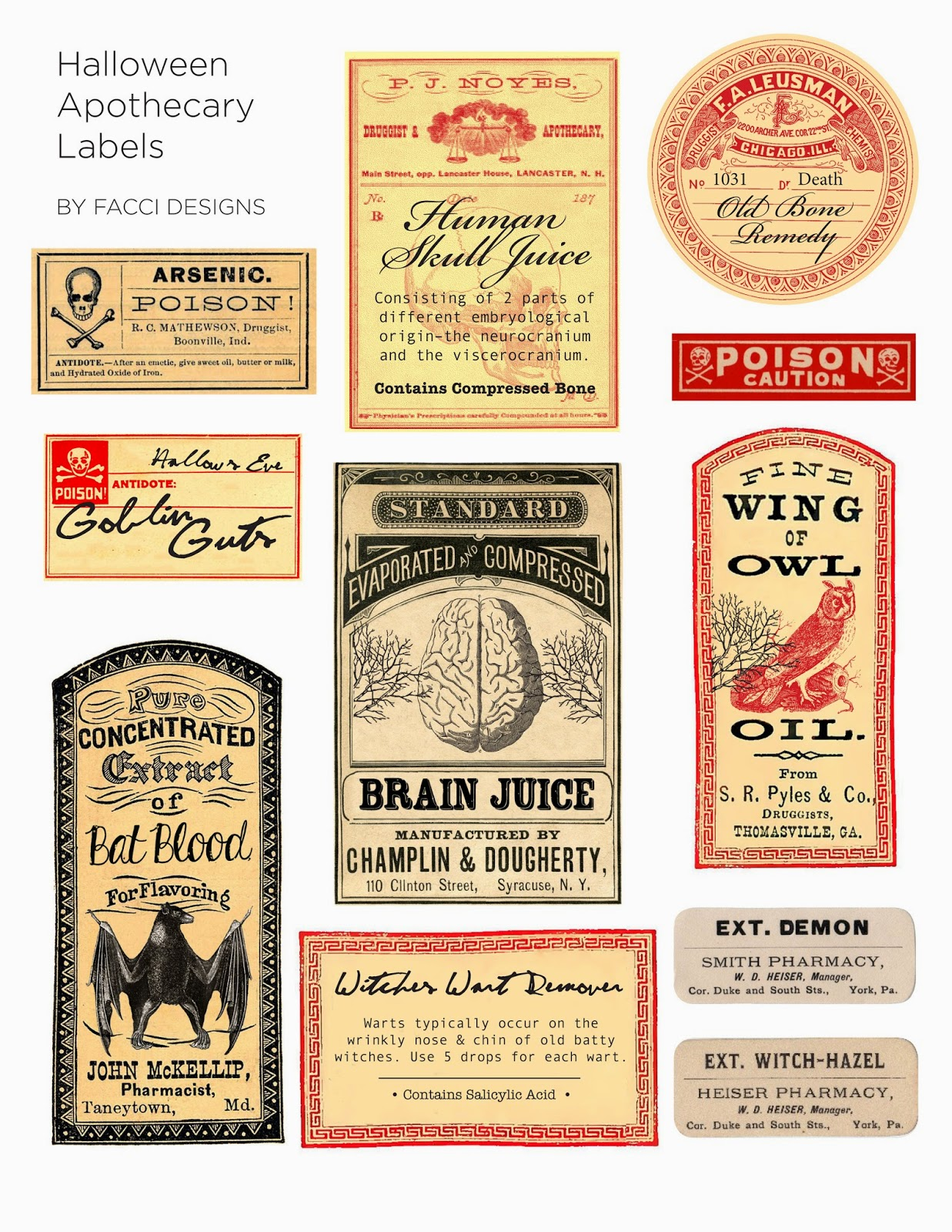 image about Free Printable Vintage Apothecary Labels titled Halloween Appreciate: Spooky Apothecary Labels No cost Printable