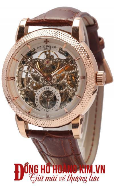 đồng hồ cơ dây da mặt tròn