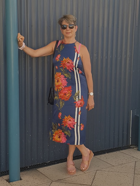 summer spaghetti floral dress/sandals/vintage scarf