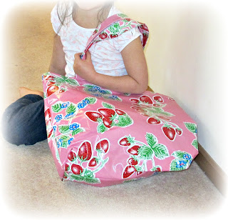 oilcloth swimming tote pink strawberries mexican