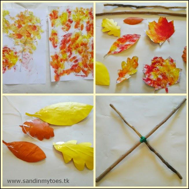 Making an autumn print leaf mobile
