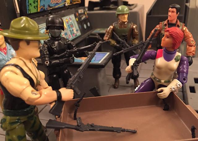 1986 Sgt. Slaughter, 1984 Action Force Stalker, Snake Eyes, Spirit Iron Knife, 2003 Scarlett, Thunder