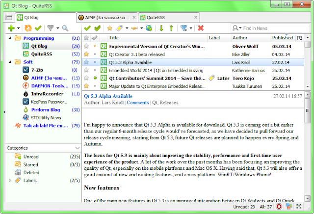 lettore gratis RSS e Atom opensource