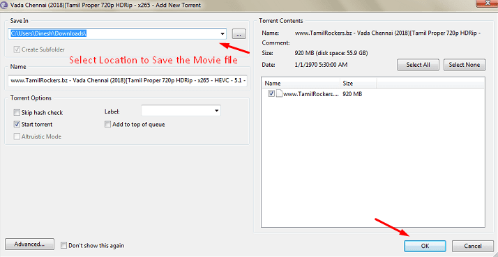 Set the file path to save the movie
