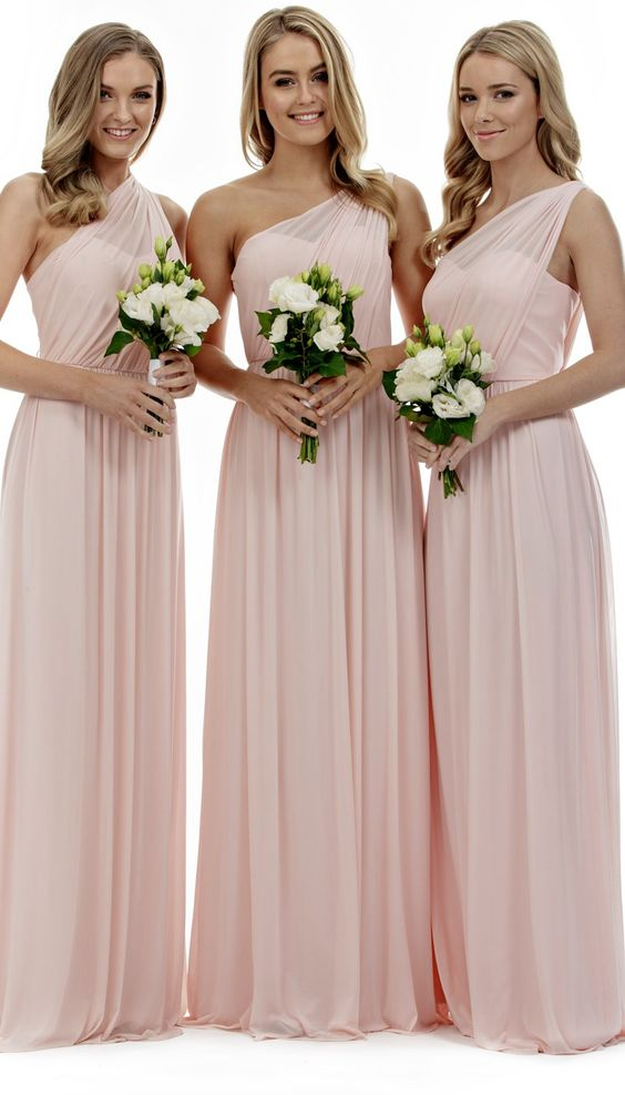 2017 Elegant A Line Chiffon Pearl Pink One Shoulder Long Bridesmaid Dress